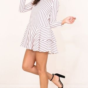 SHOWPO Candles at Sunset Dress in White Stripe 6
